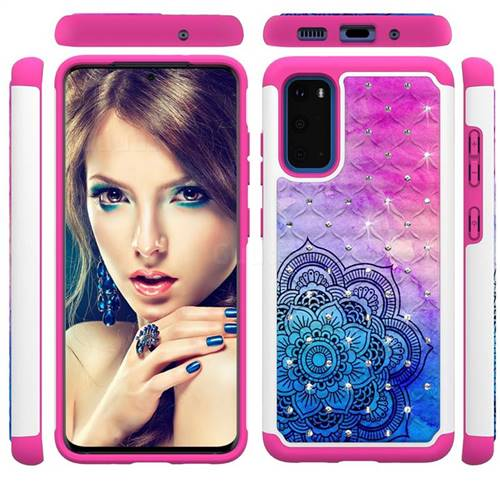 Colored Mandala Studded Rhinestone Bling Diamond Shock Absorbing Hybrid Defender Rugged Phone Case Cover for Samsung Galaxy S20 / S11e