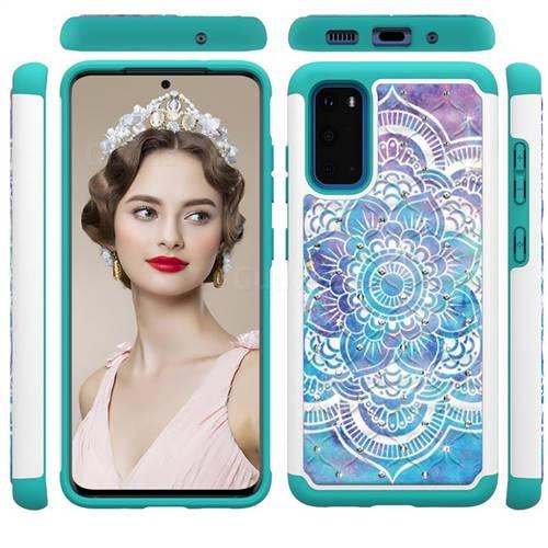 Mandala Studded Rhinestone Bling Diamond Shock Absorbing Hybrid Defender Rugged Phone Case Cover for Samsung Galaxy S20 / S11e