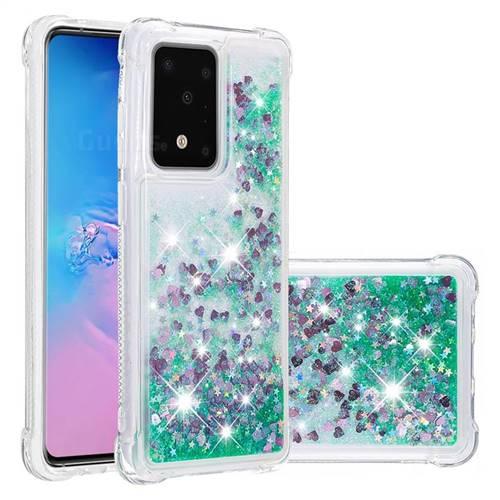 Dynamic Liquid Glitter Sand Quicksand TPU Case for Samsung Galaxy S20 / S11e - Green Love Heart