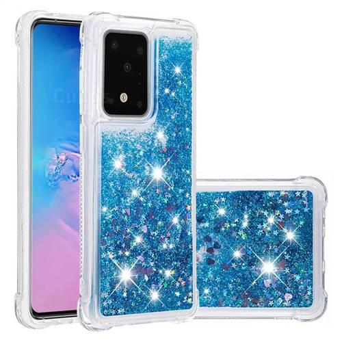 Dynamic Liquid Glitter Sand Quicksand TPU Case for Samsung Galaxy S20 / S11e - Blue Love Heart
