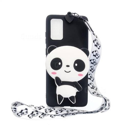 White Panda Neck Lanyard Zipper Wallet Silicone Case for Samsung Galaxy S20 / S11e