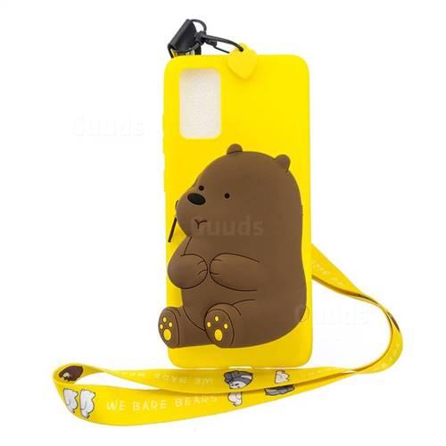 Yellow Bear Neck Lanyard Zipper Wallet Silicone Case for Samsung Galaxy S20 / S11e