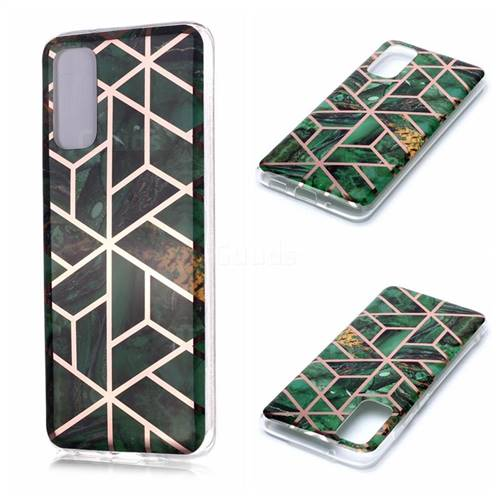 Green Rhombus Galvanized Rose Gold Marble Phone Back Cover for Samsung Galaxy S20 / S11e
