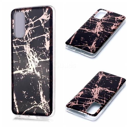 Black Galvanized Rose Gold Marble Phone Back Cover for Samsung Galaxy S20 / S11e