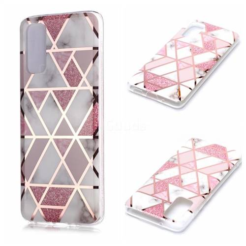 Pink Rhombus Galvanized Rose Gold Marble Phone Back Cover for Samsung Galaxy S20 / S11e