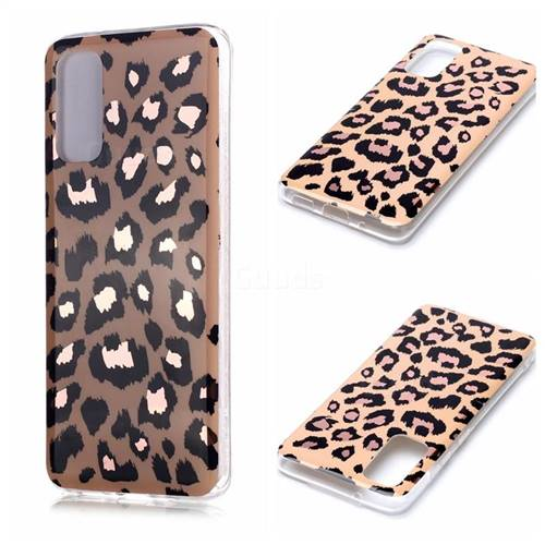 Leopard Galvanized Rose Gold Marble Phone Back Cover for Samsung Galaxy S20 / S11e