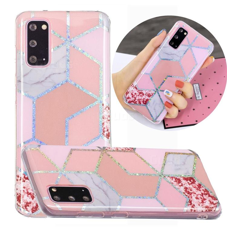 Pink Marble Painted Galvanized Electroplating Soft Phone Case Cover for Samsung Galaxy S20