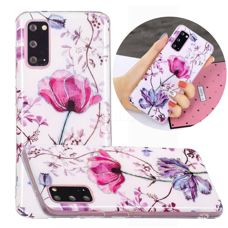 Magnolia Painted Galvanized Electroplating Soft Phone Case Cover for Samsung Galaxy S20