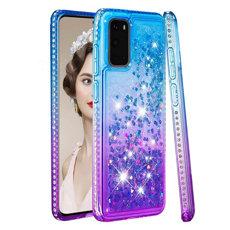 Diamond Frame Liquid Glitter Quicksand Sequins Phone Case for Samsung Galaxy S20 - Blue Purple
