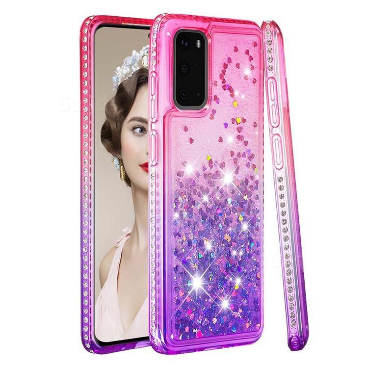 Diamond Frame Liquid Glitter Quicksand Sequins Phone Case for Samsung Galaxy S20 - Pink Purple