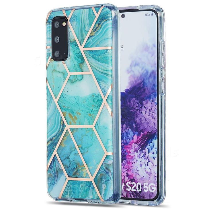 Blue Sea Marble Pattern Galvanized Electroplating Protective Case Cover for Samsung Galaxy S20