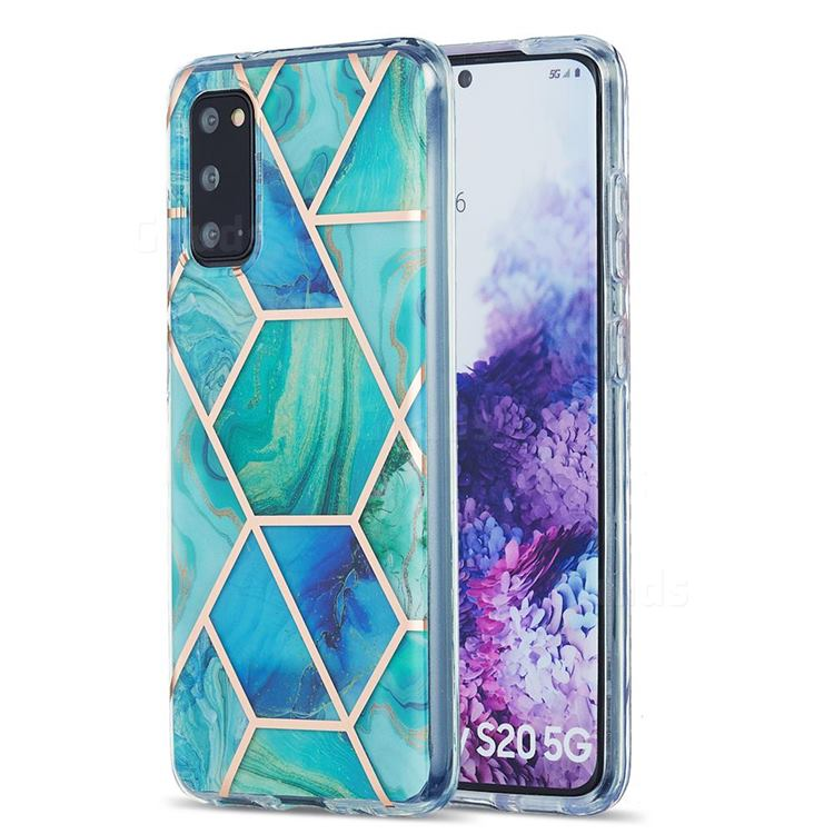 Green Glacier Marble Pattern Galvanized Electroplating Protective Case Cover for Samsung Galaxy S20