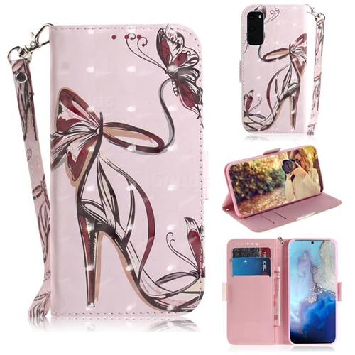 Butterfly High Heels 3D Painted Leather Wallet Phone Case for Samsung Galaxy S20 / S11e