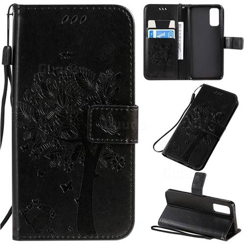 Embossing Butterfly Tree Leather Wallet Case for Samsung Galaxy S20 / S11e - Black