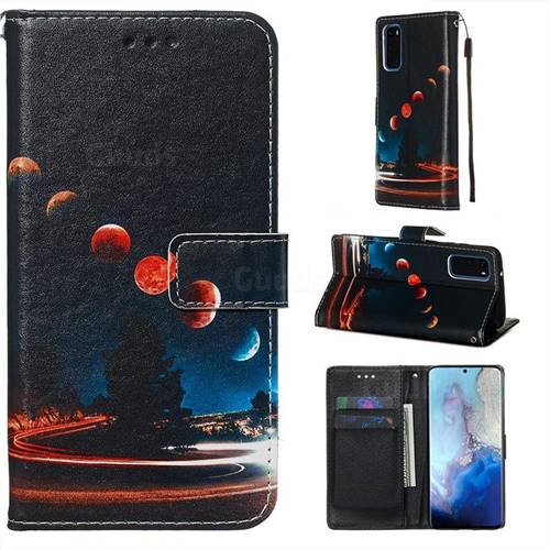 Wandering Earth Matte Leather Wallet Phone Case for Samsung Galaxy S20 / S11e