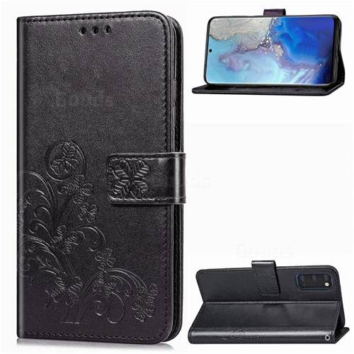 Embossing Imprint Four-Leaf Clover Leather Wallet Case for Samsung Galaxy S20 / S11e - Black
