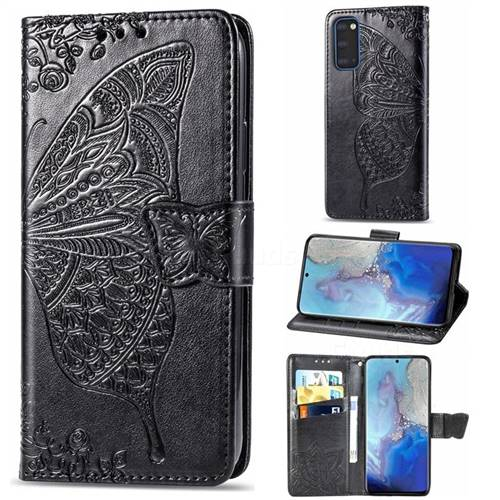 Embossing Mandala Flower Butterfly Leather Wallet Case for Samsung Galaxy S20 / S11e - Black