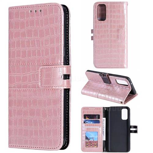 Luxury Crocodile Magnetic Leather Wallet Phone Case for Samsung Galaxy S20 / S11e - Rose Gold
