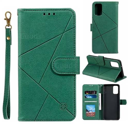 Embossing Geometric Leather Wallet Case for Samsung Galaxy S20 / S11e - Green