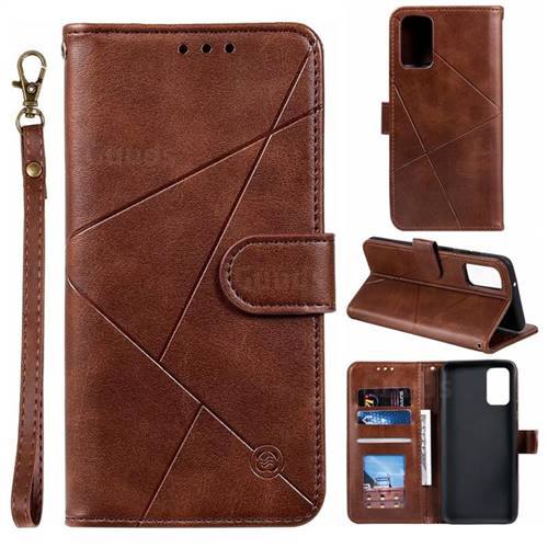 Embossing Geometric Leather Wallet Case for Samsung Galaxy S20 / S11e - Brown