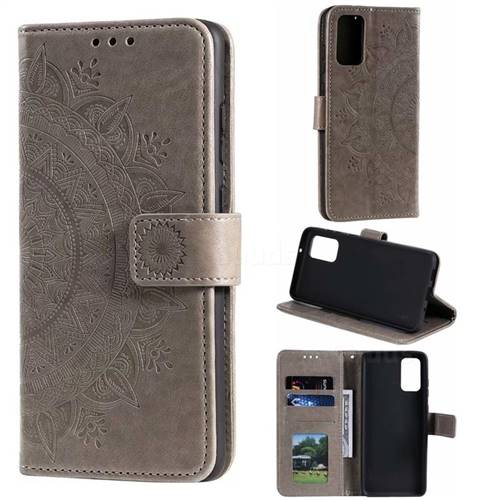 Intricate Embossing Datura Leather Wallet Case for Samsung Galaxy S20 / S11e - Gray