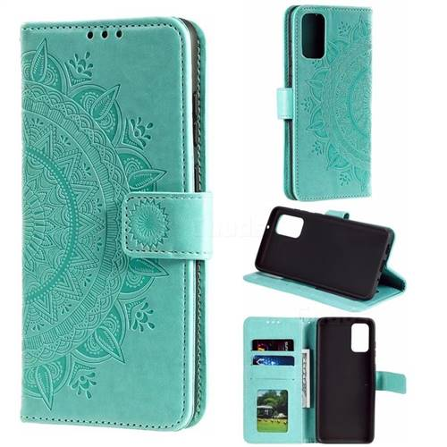 Intricate Embossing Datura Leather Wallet Case for Samsung Galaxy S20 / S11e - Mint Green