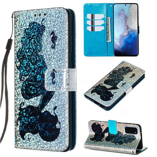 Mermaid Seahorse Sequins Painted Leather Wallet Case for Samsung Galaxy S20 / S11e