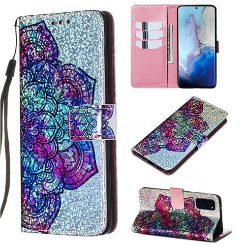 Glutinous Flower Sequins Painted Leather Wallet Case for Samsung Galaxy S20 / S11e
