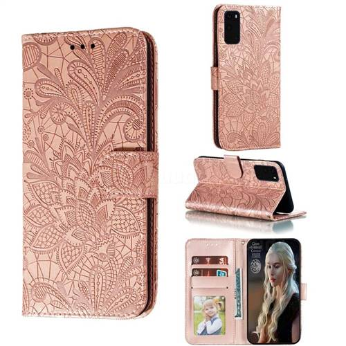 Intricate Embossing Lace Jasmine Flower Leather Wallet Case for Samsung Galaxy S20 / S11e - Rose Gold
