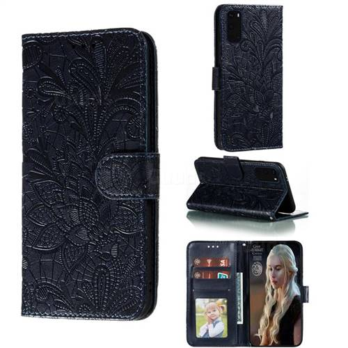 Intricate Embossing Lace Jasmine Flower Leather Wallet Case for Samsung Galaxy S20 / S11e - Dark Blue