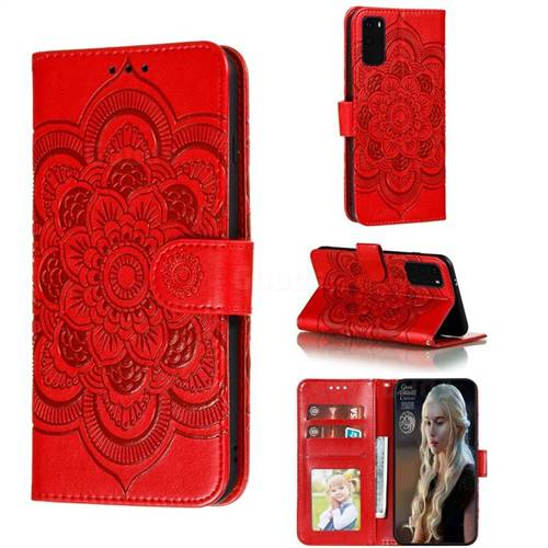 Intricate Embossing Datura Solar Leather Wallet Case for Samsung Galaxy S20 / S11e - Red
