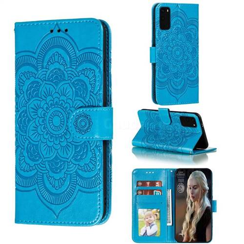 Intricate Embossing Datura Solar Leather Wallet Case for Samsung Galaxy S20 / S11e - Blue