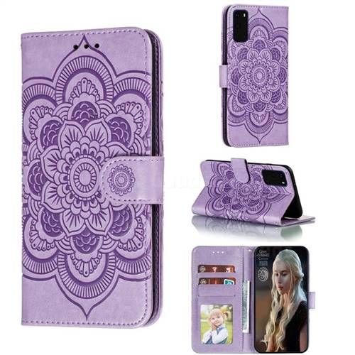 Intricate Embossing Datura Solar Leather Wallet Case for Samsung Galaxy S20 / S11e - Purple