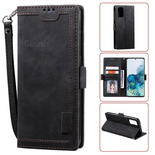 Luxury Retro Stitching Leather Wallet Phone Case for Samsung Galaxy S20 / S11e - Black