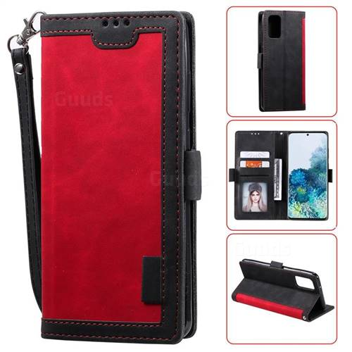 Luxury Retro Stitching Leather Wallet Phone Case for Samsung Galaxy S20 / S11e - Deep Red