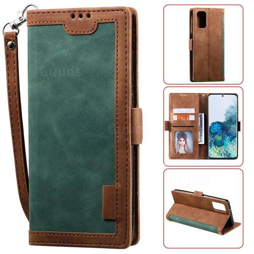 Luxury Retro Stitching Leather Wallet Phone Case for Samsung Galaxy S20 / S11e - Dark Green