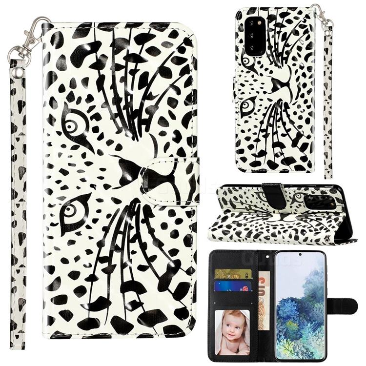 Leopard Panther 3D Leather Phone Holster Wallet Case for Samsung Galaxy S20 / S11e