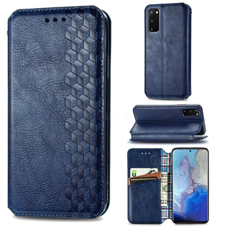 Ultra Slim Fashion Business Card Magnetic Automatic Suction Leather Flip Cover for Samsung Galaxy S20 / S11e - Dark Blue