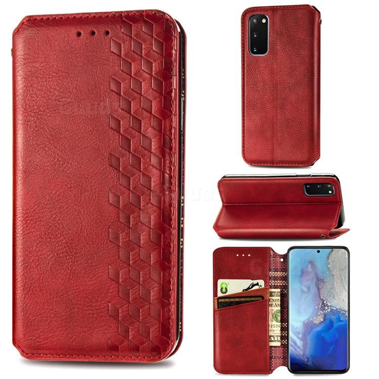 Ultra Slim Fashion Business Card Magnetic Automatic Suction Leather Flip Cover for Samsung Galaxy S20 / S11e - Red