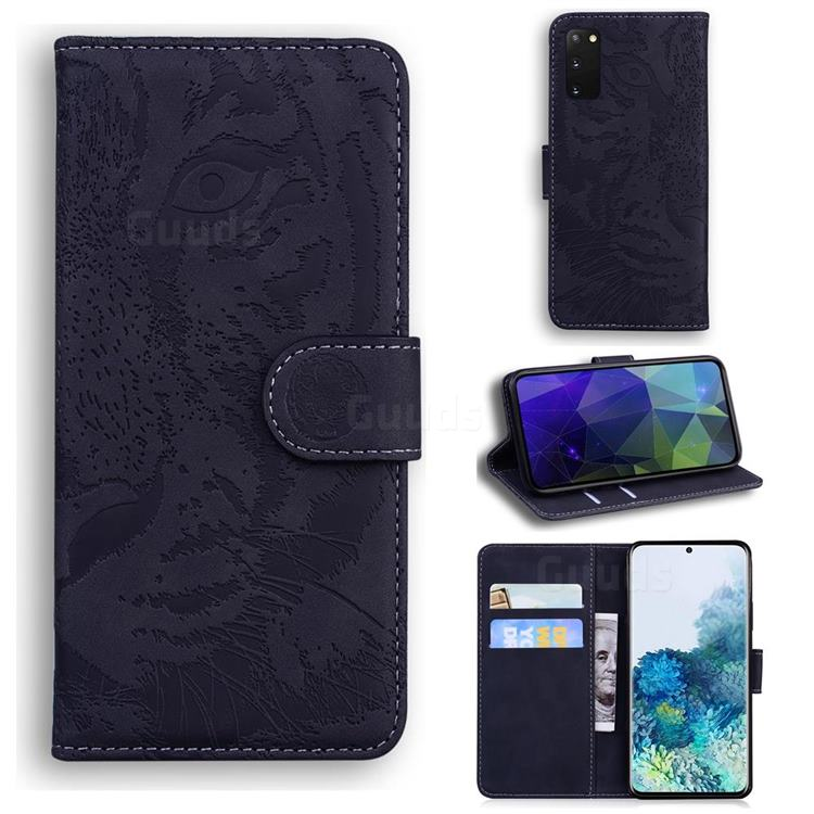 Intricate Embossing Tiger Face Leather Wallet Case for Samsung Galaxy S20 / S11e - Black