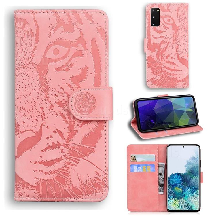 Intricate Embossing Tiger Face Leather Wallet Case for Samsung Galaxy S20 / S11e - Pink