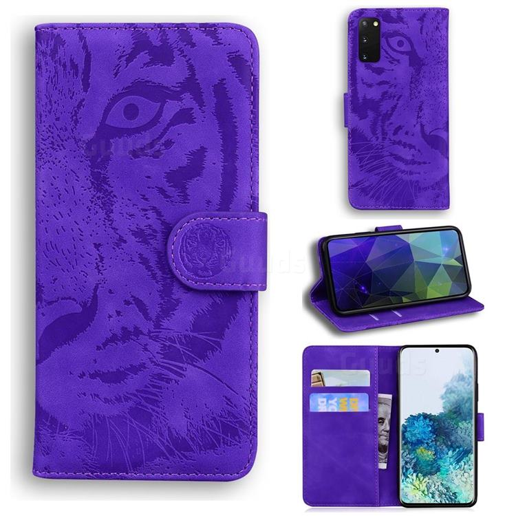 Intricate Embossing Tiger Face Leather Wallet Case for Samsung Galaxy S20 / S11e - Purple
