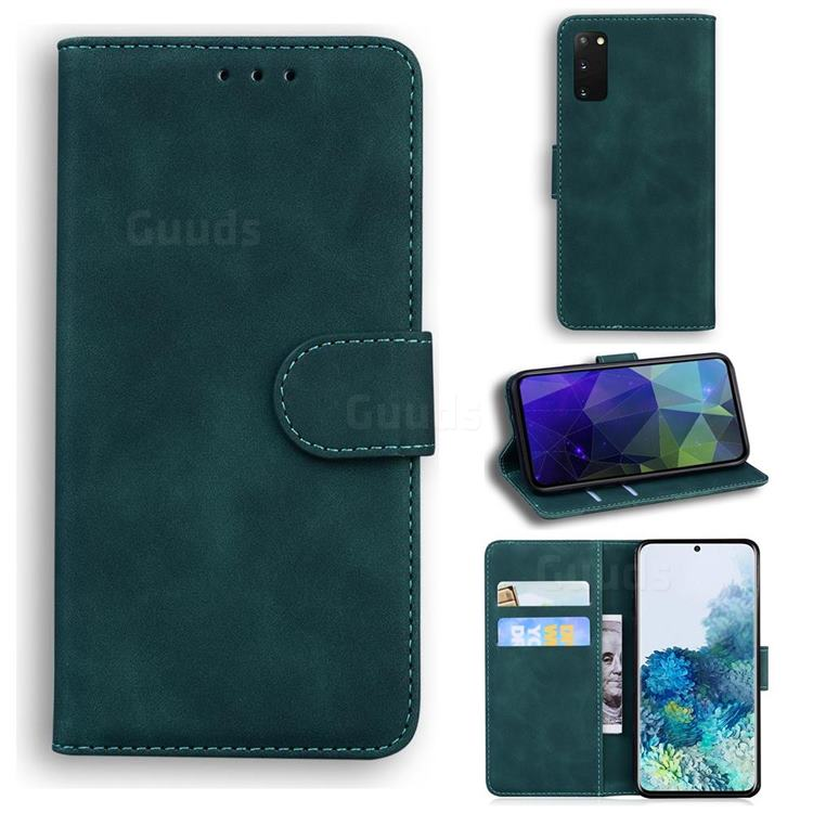 Retro Classic Skin Feel Leather Wallet Phone Case for Samsung Galaxy S20 / S11e - Green