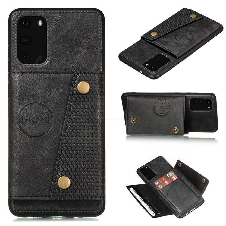 Retro Multifunction Card Slots Stand Leather Coated Phone Back Cover for Samsung Galaxy S20 - Black