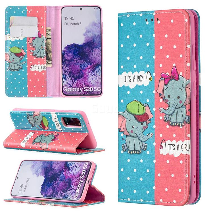 Elephant Boy and Girl Slim Magnetic Attraction Wallet Flip Cover for Samsung Galaxy S20