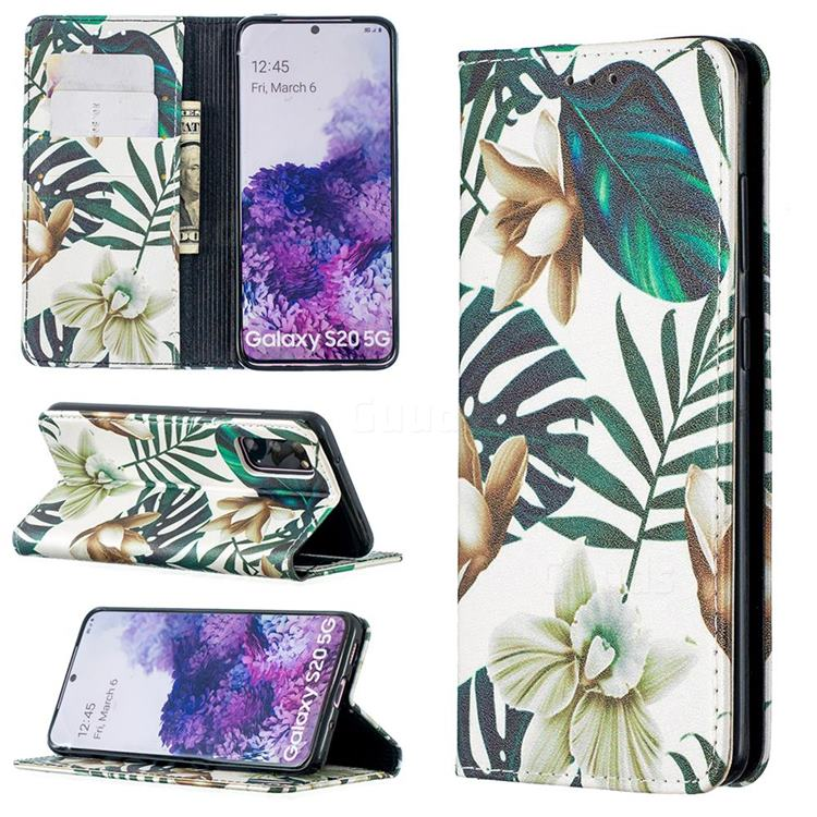 Flower Leaf Slim Magnetic Attraction Wallet Flip Cover for Samsung Galaxy S20