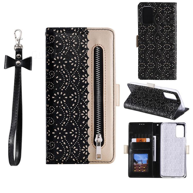 Luxury Lace Zipper Stitching Leather Phone Wallet Case for Samsung Galaxy S20 - Black