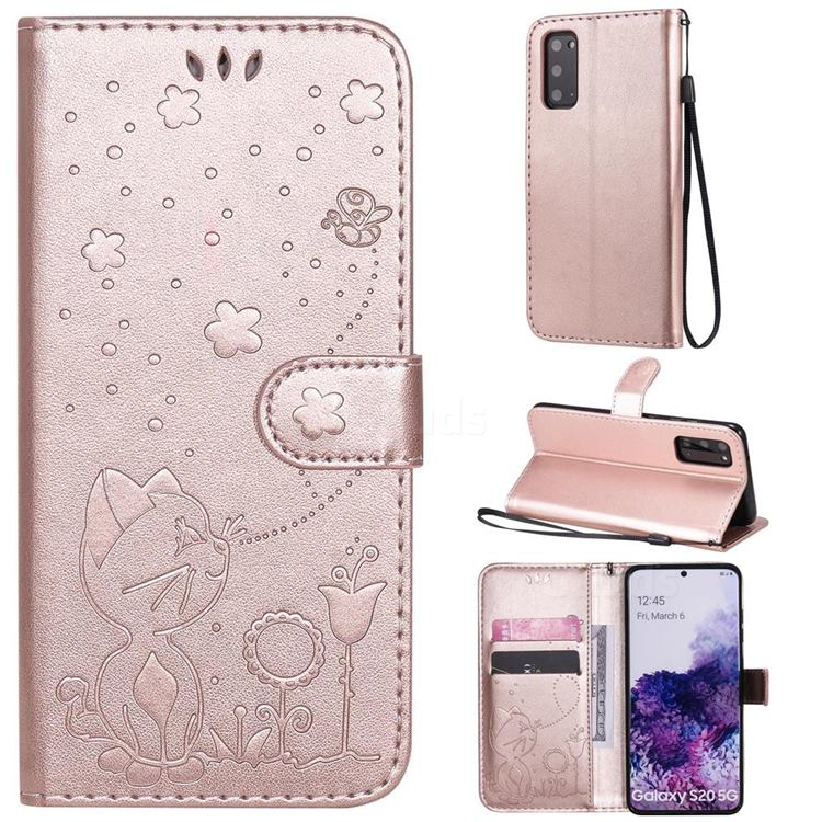 Embossing Bee and Cat Leather Wallet Case for Samsung Galaxy S20 - Rose Gold
