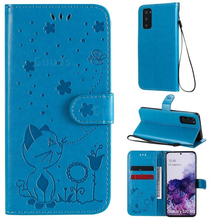 Embossing Bee and Cat Leather Wallet Case for Samsung Galaxy S20 - Blue