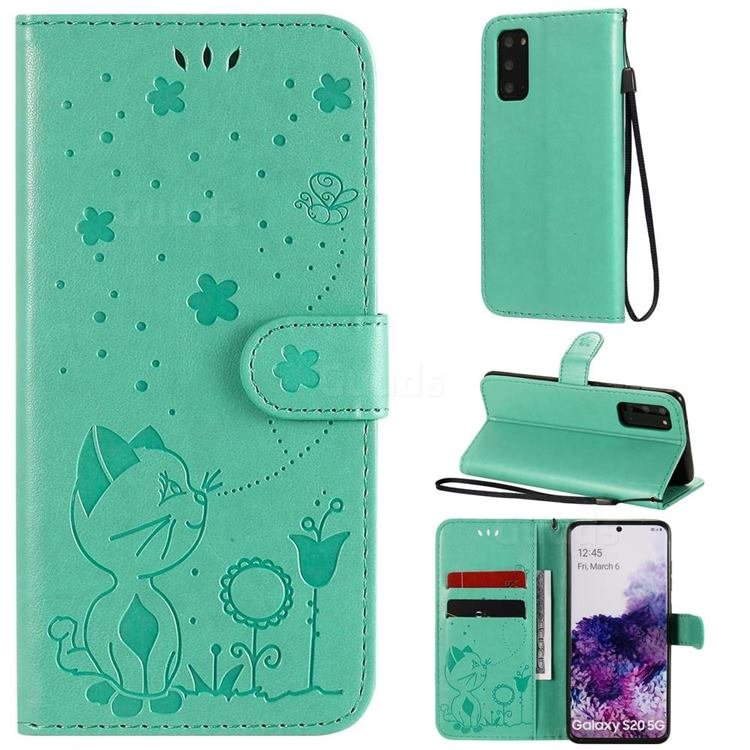 Embossing Bee and Cat Leather Wallet Case for Samsung Galaxy S20 - Green